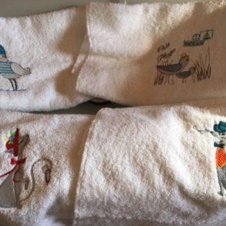 serviette de toilette brodée